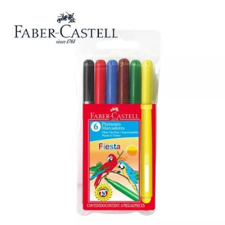 Marcadores 6 colores Faber Castell Fiesta
